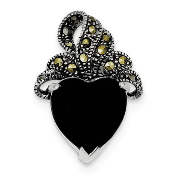 Sterling Silver Rhodium Plated Marcasite and Onyx Heart Pendant QP587