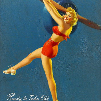 Pin-Up Girl Wall Decal Poster Sticker - Ready to Take Off - Blonde Pinup Pin Up