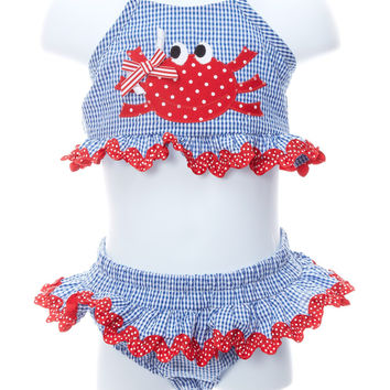 Baby Girl Happy Crab Two Piece Swimsuit
