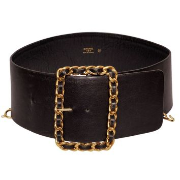 Vintage Chanel Black Leather Belt 1980s Gold Toned Chain Buckle