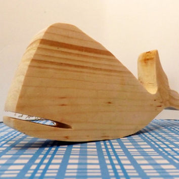 Whale Wooden Toy or Cake Topper; Unfinished, Painted, Distressed; Baby Shower, 1st Birthday, Christmas Stocking Stuffer