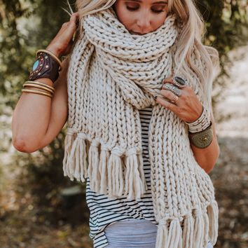 Desert Cozy Chunky Knitted Oversized Scarf - Sand
