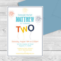 Two Birthday Balloon Invitation Template - Fireworks Balloon Printable Invitation Editable PDF Template - 2nd Birthday - DIY You Print