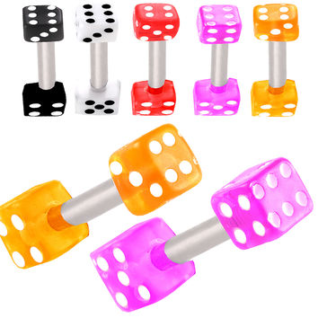 Realistic Dice Barbell [Gauge: 16G - 1.2mm / Length: 6mm / Ball Size: 3mm] 316L Surgical Steel (Green) & Acrylic (Various Colors) // Set of 2