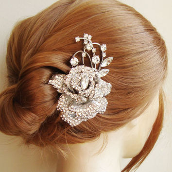 Crystal Rose Hair Comb Rhinestone Flower Hair Comb by luxedeluxe