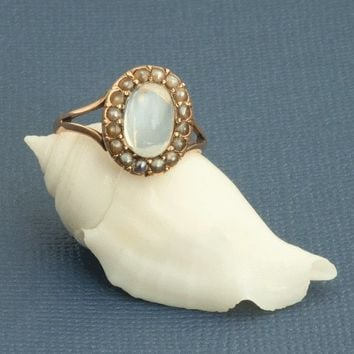 Antique Victorian Cabochon Moonstone And Seed Pearls Ring