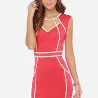 Little Mistress Hold the Line Coral Pink Bodycon Dress
