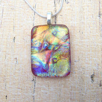 Dichroic Fused Glass Pendant - Multicolored Fused Jewelry Radiant Wear with Anything Accessory or Great Gift Idea - 51-15