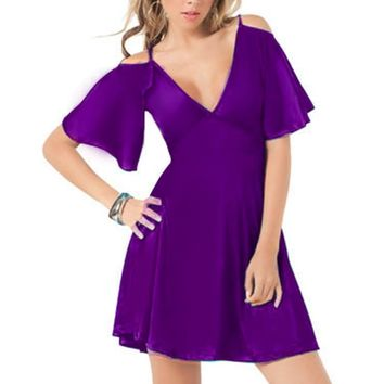Casual Sexy Women Solid Short Sleeve Summer Dress Lady V-Neck Fit and Flare Mini Club Party Dress 1E106