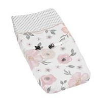 Sweet Jojo Designs Changing Pad Cover - Watercolor Floral - Pink/Gray