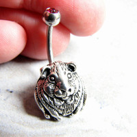 Hamster Jewelry Small Belly Ring Guinea Pig Navel Ring Cute Animal Belly Bar Surgical Stainless Steel 14G Belly Button Ring Piercing