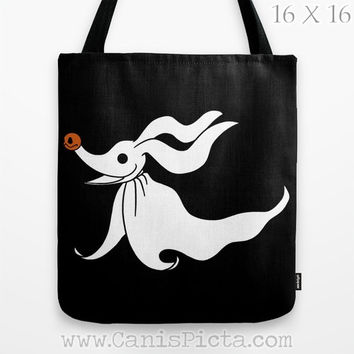 Zero Ghost Dog Nightmare Before Christmas Graphic Print Tote Bag Movie Skellington Carryall Halloween Black Orange Pumpkin Jack O'Lantern
