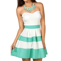 Mint Strapless Color Block Dress