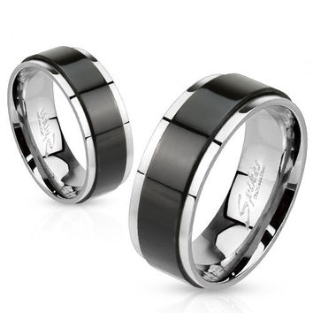 Mens or Womens Black Spinner Steel Wedding Ring. Purchase ONE or TWO to make a matching spinning couple set