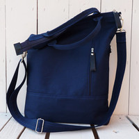 Navy blue tote bag canvas crossbody messenger bag Foldover bag weekender bag shopping bag
