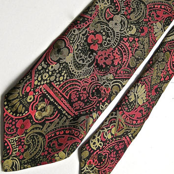 Vintage Italian Silk Tie, Foulard Silk Necktie, Red, Black & Gold Silk Tie, ACWA Union Made in USA, Patterned Tie, Vintage Menswear, 70s Tie