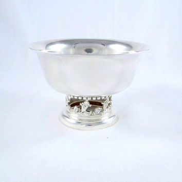 Stunning Silver Plated Bowl with Floral Base by Sheffield Silver