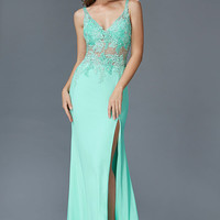 G2052 Lace Sheer Illusion Jersey Prom Dress Evening Gown