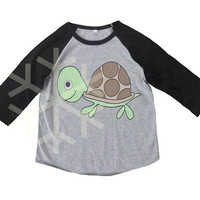 Turtle shirt toddler funny animal shirt- 3/4 sleeve tshirt -Child shirt -Raglan shirt- Baseball tshirt -Kids tshirts