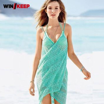 DCCKLW8 Hot Women Beach Cover Up Lace Chiffon Long Dress Swimwear Dress Crochet See Through Sheer Sexy Women Swimming Pools Bathing Suit