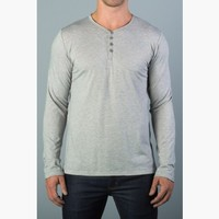 {the common good} Slim Long-Sleeve Rolled-Hem Henley in Heather Grey-aham