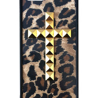 Cheetah Gold Studded Cross iPhone 5/5s Case