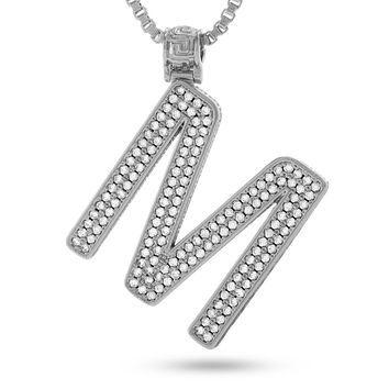 "White Gold Letter ""M"" Necklace"