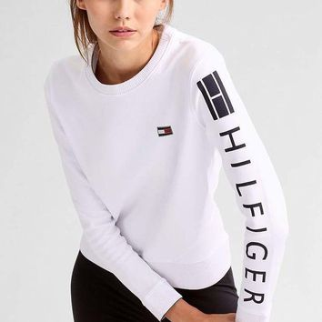 One-nice™ Tommy Hilfiger Women Black logo Printed Top Pullover Sweater Sweatshirt