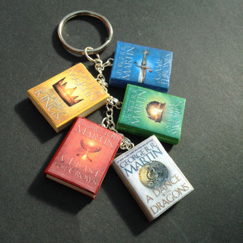 A Song of Ice and Fire/Game of Thrones book charm keychain/bracelet