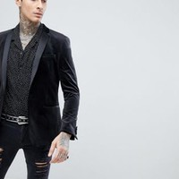 ASOS DESIGN skinny blazer in black velvet at asos.com