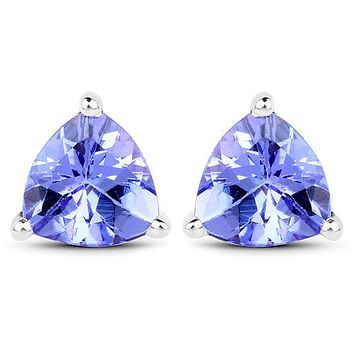 Natural Mined Perfect 14K White Gold 1.29CT Trillion Cut Tanzanite Stud Earrings