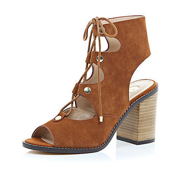 River Island Womens Brown suede lace up block heel sandals