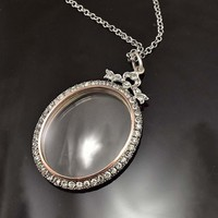 Antique Silver & Rose Gold Diamond Paste Locket C 1870s