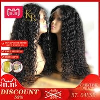 Curly Lace Front Human Hair Wigs For Women With Pre Plucked Bleached Knots 13*4 Lace Wig Brazilian Remy Hair Full Natural Black