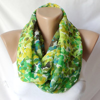Green tones Dotted.....Infinity Loop Scarf ..Chiffon... Scarf...Green Bubbles
