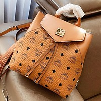 MCM Fashion New More Letter Leather Backpack Bag Handbag Bucket Bag Brown