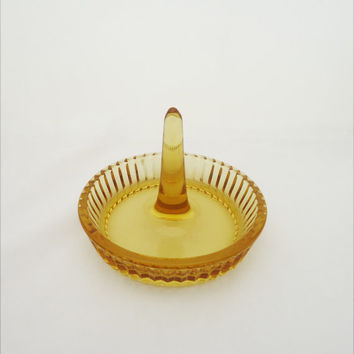 Vintage Amber Glass Ring Holder , Amber Glass Ring Holder, Amber Glass Jewellery Dish, Ring Dish