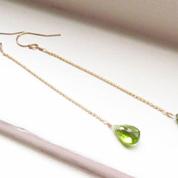Peridot earrings dangle extra long August birthstone gold silver chain