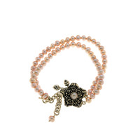 Grasset Rose Sterling Silver And Pink Pearl Bracelet