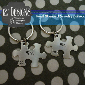 Mr. and Mrs. Personalized Puzzle Piece Key Chain Duo - Hand Stamped Stainless Steel SHIPPED in 10-14 Days SHIPPING TIME 3-5 Days