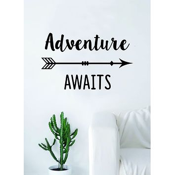 Adventure Awaits Arrow Quote Wall Decal Sticker Bedroom Living Room Art Vinyl Beautiful Inspirational Moon Travel Explore Mountains Wanderlust