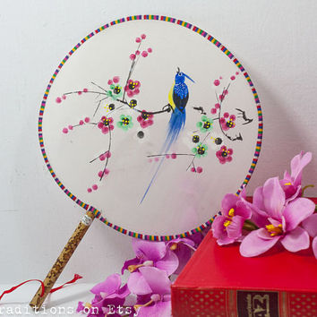 Painted Silk Fan: Vintage Chinese Silk Screen Painted Hand Fan, Asian Art, Floral Fan