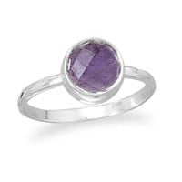 Faceted Amethyst Stackable Ring