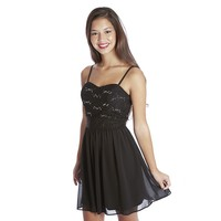 IZ Byer California Strappy Fitted Lace Bodice Dress - Juniors