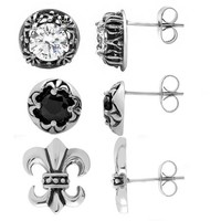 Women's Stainless Steel Earrings, 3pk - Walmart.com