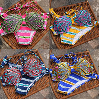 Ethnic and Polka Dot Pattern Striped Bikini