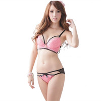 Sexy Lace Bra and Panty Set Transparent Briefs Hollow out Underwear Women sujetador  Lingerie Set push up Girls love Black Pink