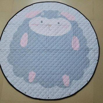 Lovely Animals Sheep Pattern Round Baby Play Mats Children Crawling Blanket Carpet Toys Storage Bag Nordic Style Room Decor