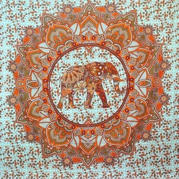 Orange Tribal Design Elephant Boho Bohemian Bedspread Beach Blanket Wall Tapestry