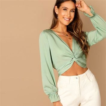 Green Plunging Deep V Neck Twist Ruffle Long Sleeve Crop Blouse Women Plain Casual Vacation Tops and Blouses